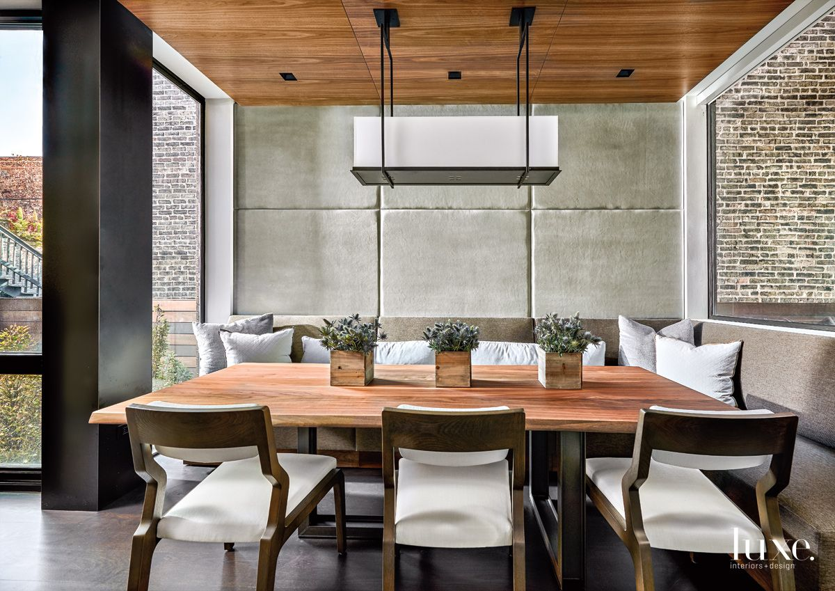 Contemporary Neutral Dining Room with Walnut Ceiling Panels