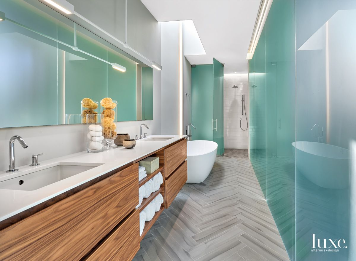 Contemporary White Bathroom with Frosted-Glass Wall