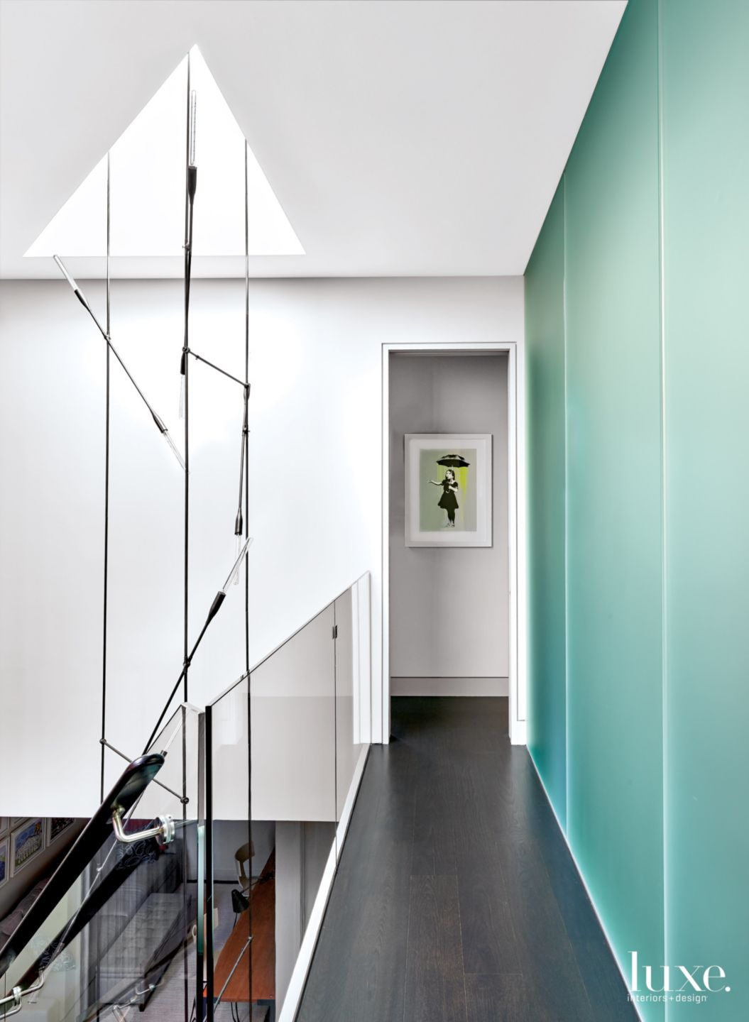 Contemporary White Hall with Frosted-Glass Wall