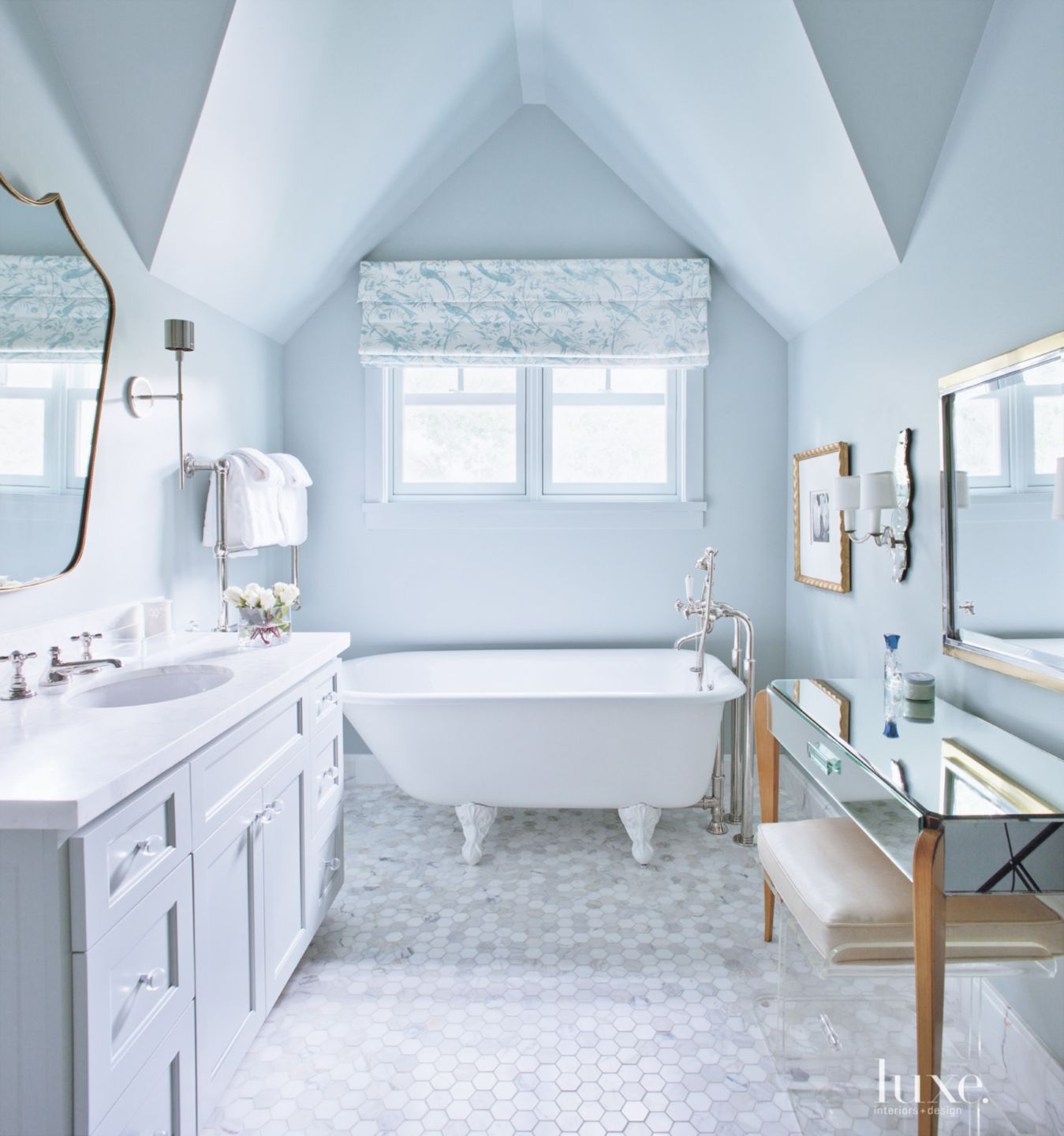 Traditional Blue Bathroom with Clawfoot Tub