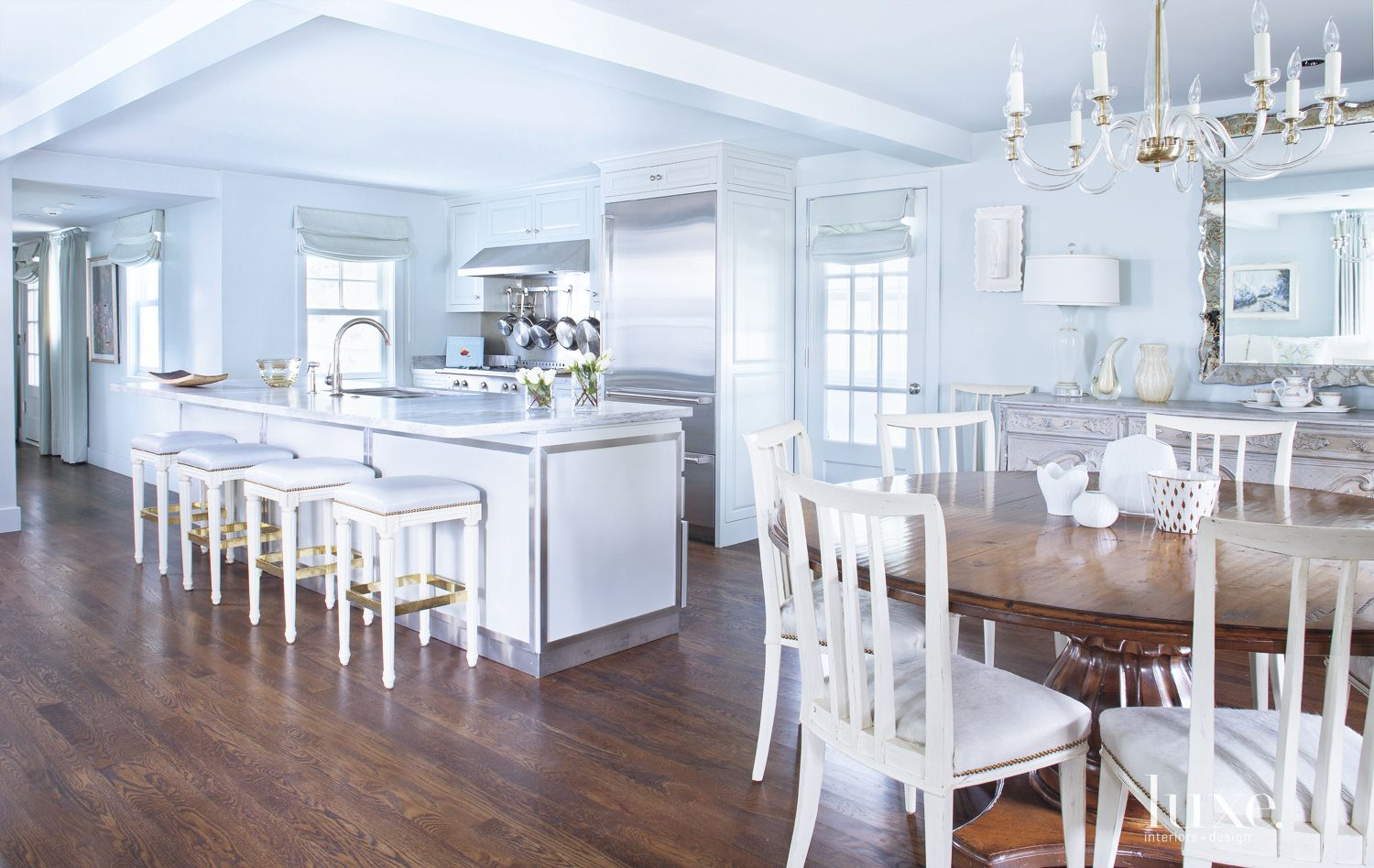 Traditional Blue Kitchen with High End Finishes