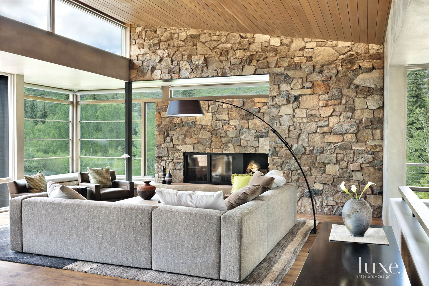 Contemporary Neutral Living Room with Stone Feature Wall