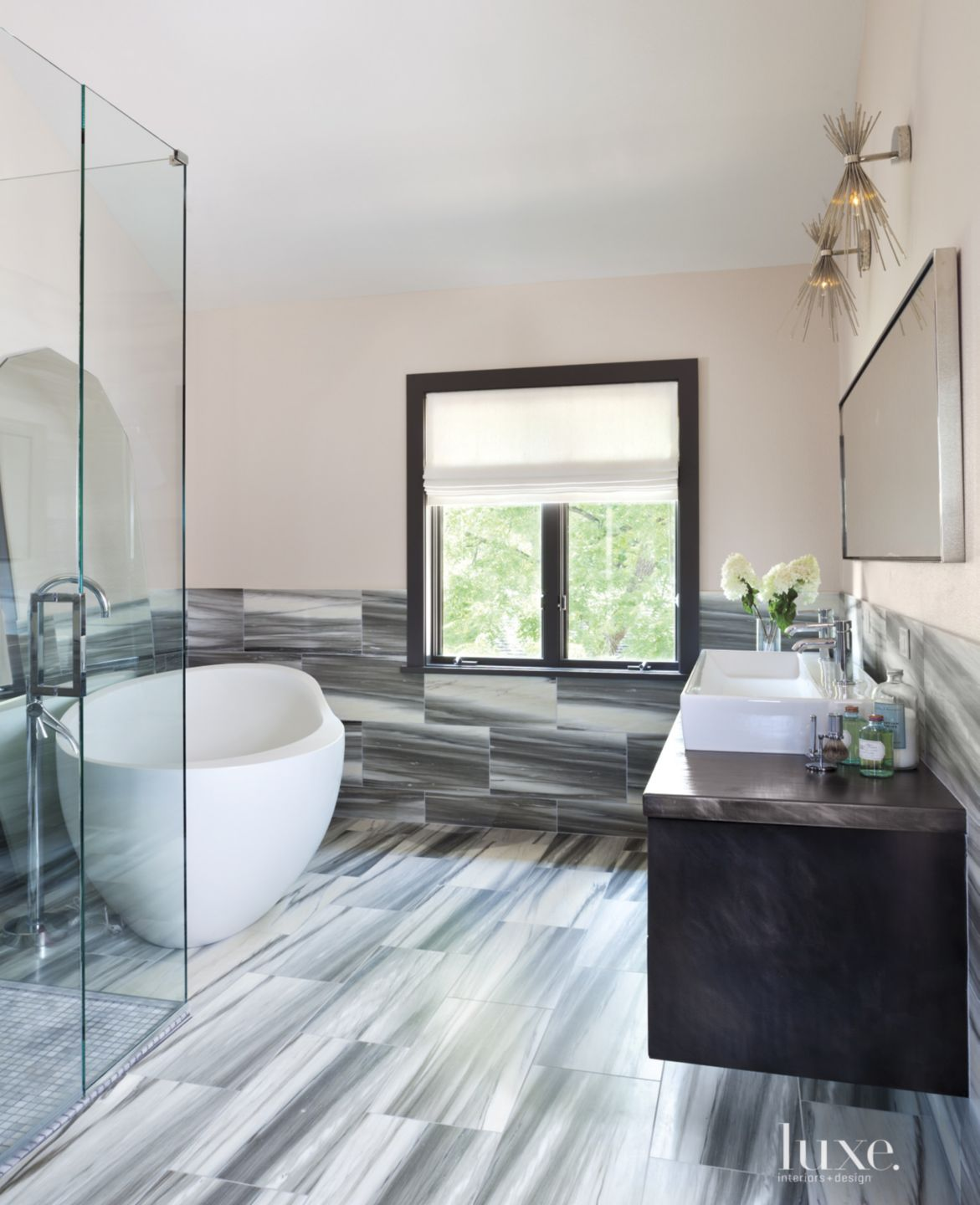 Modern Master Bath with Gray Marble Tilework