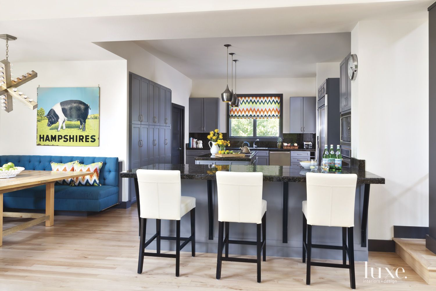 Eclectic Gray Kitchen and Breakfast Nook
