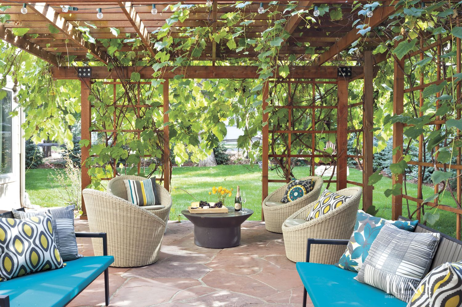 Flagstone Patio with Eclectic Furnishings