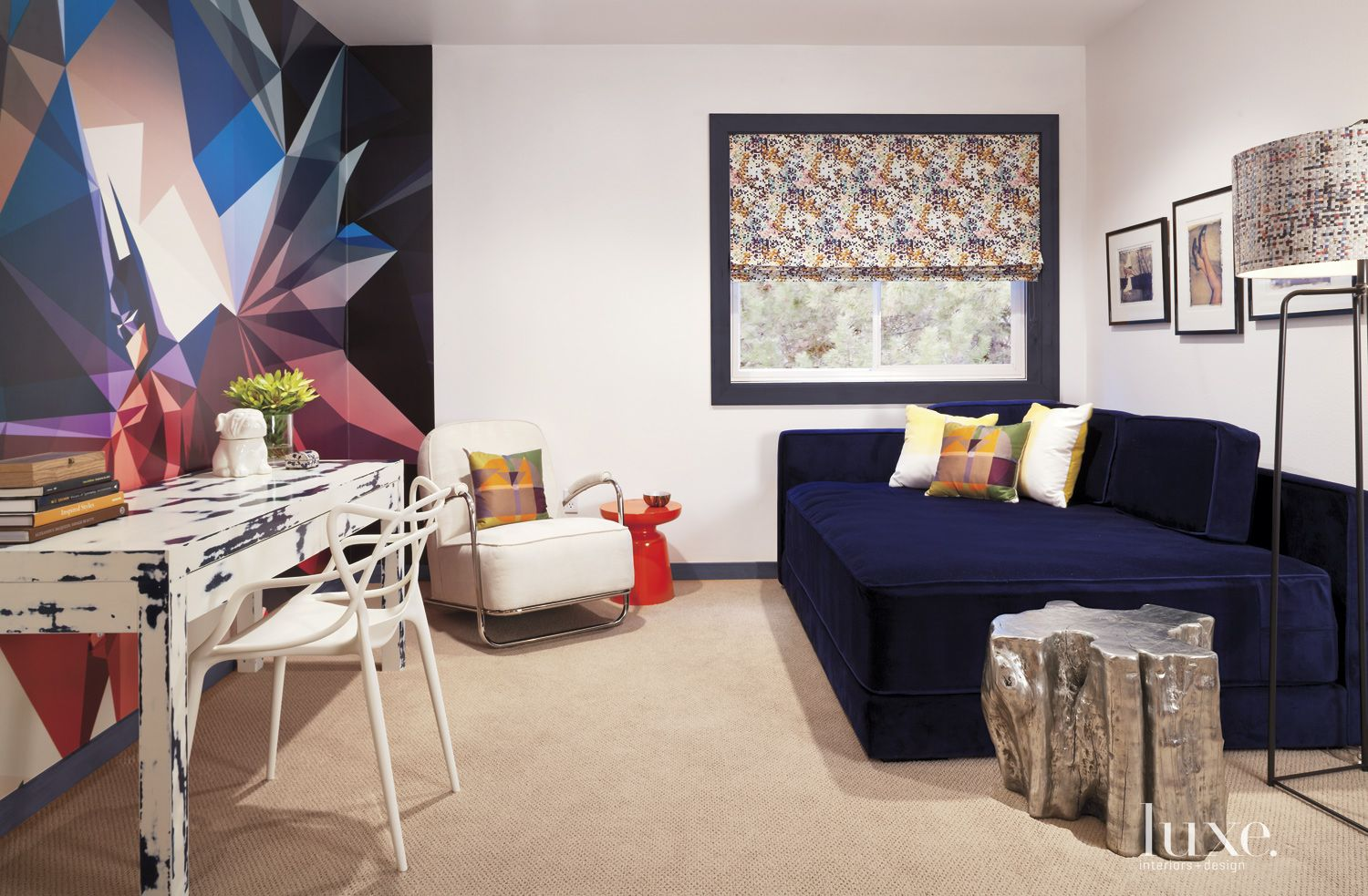 Eclectic White Office Nook with Multi-Colored Accent Wall
