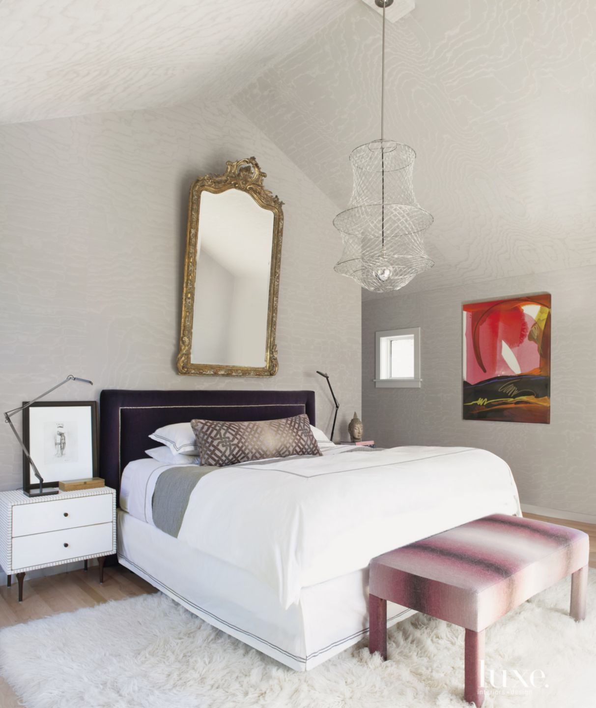 Eclectic Master Bedroom with Silver Wallpaper