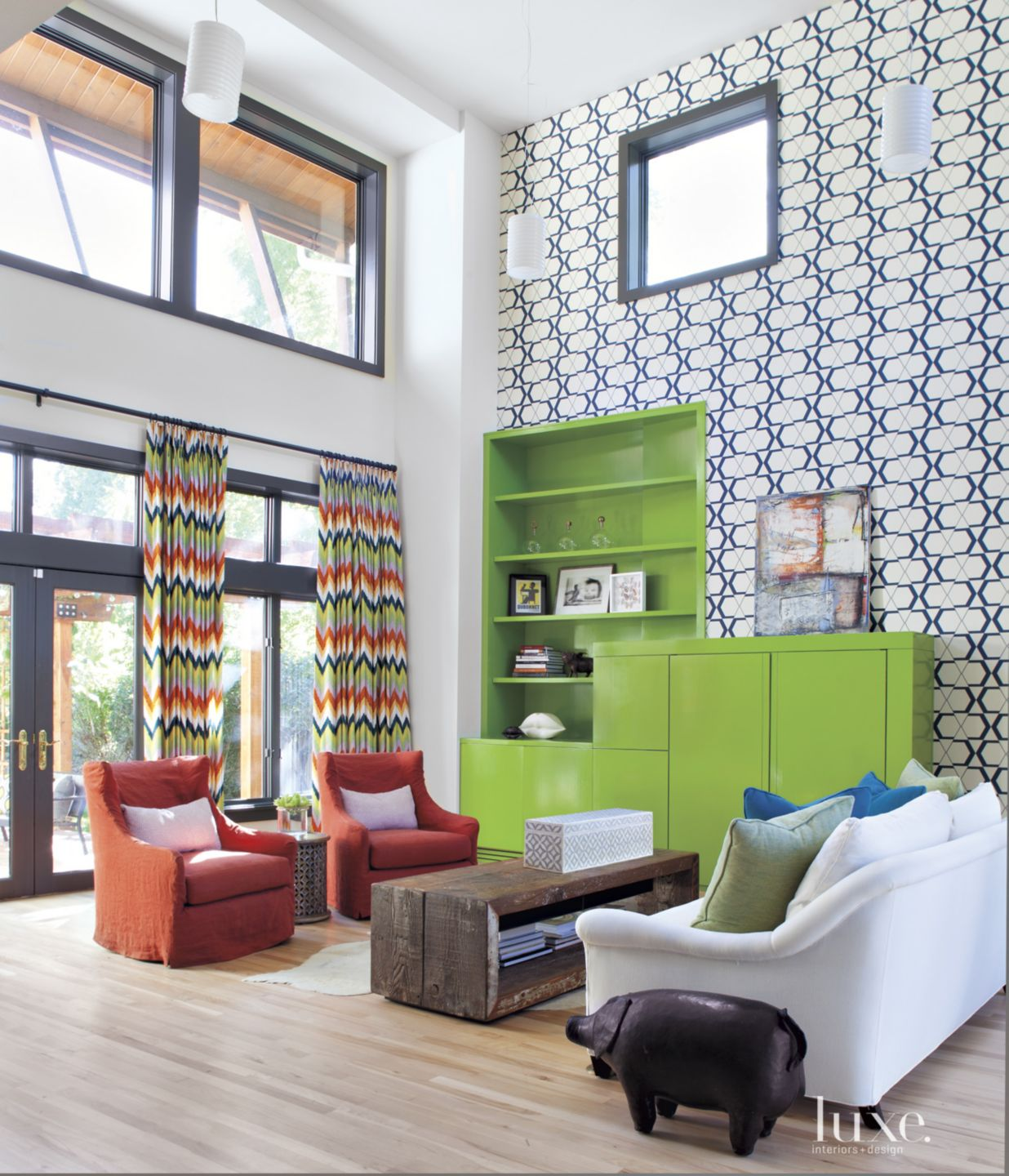 Eclectic Multi-Colored Family Room