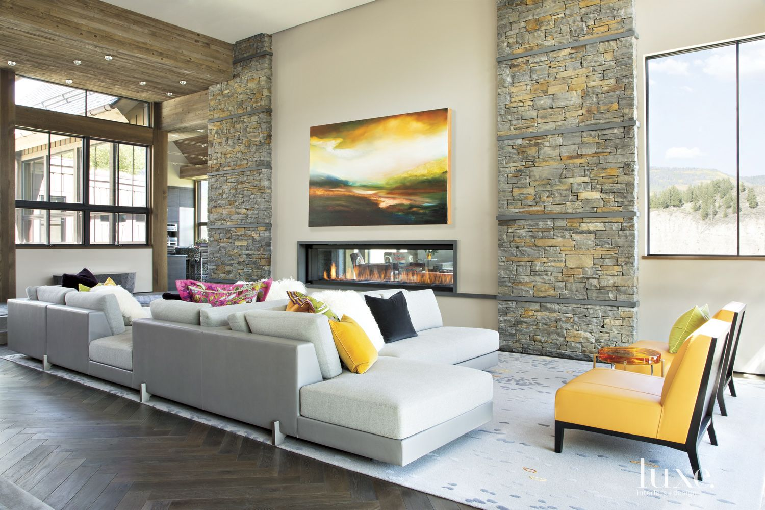 Contemporary Neutral Living Room with Linear Slot Fireplace