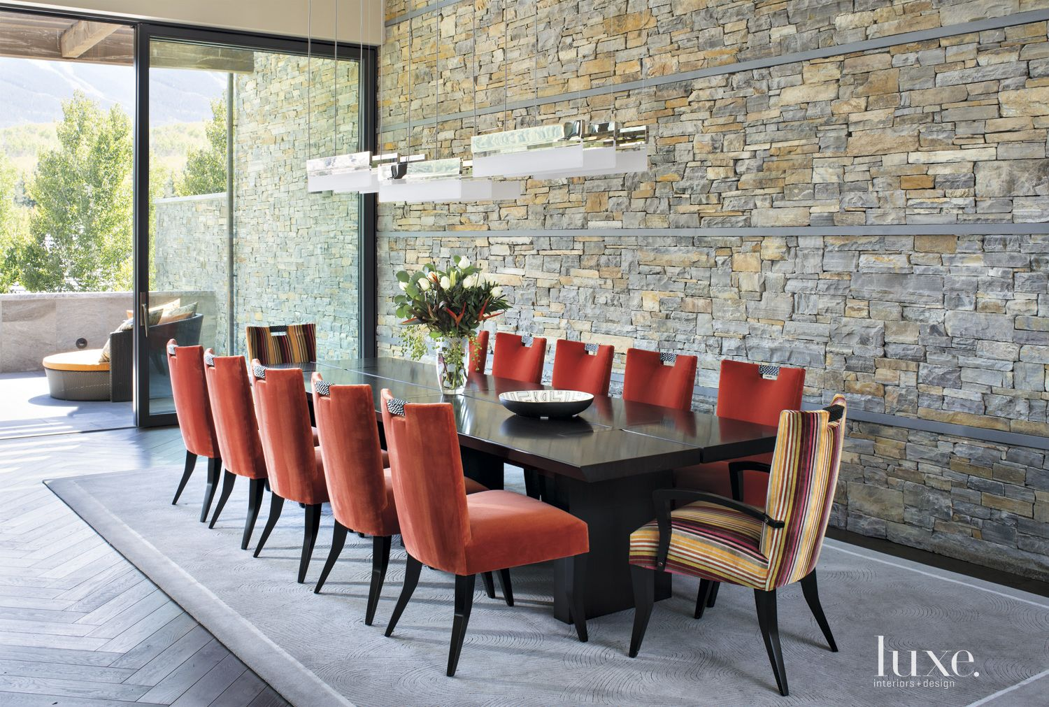 Contemporary Neutral Dining Room with Red Velvet Chairs