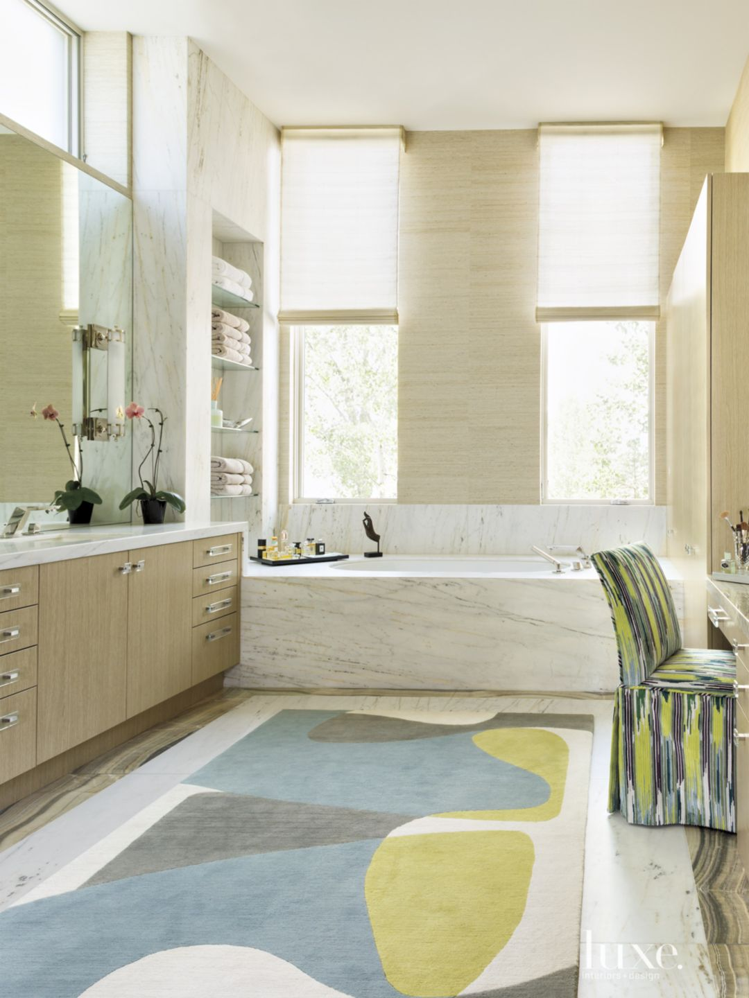 Contemporary Neutral Bathroom with Ikat Chair