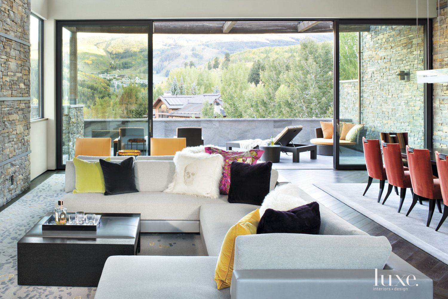 Contemporary Neutral Living Room with Vibrant Pillows