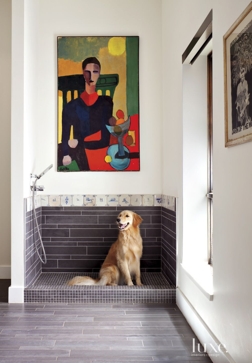 Contemporary Neutral Dog Shower with 18th-century Dutch Tiles