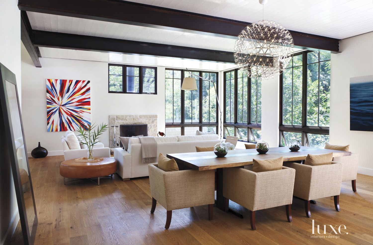 Contemporary Neutral Dining Area with Custom Walnut Table