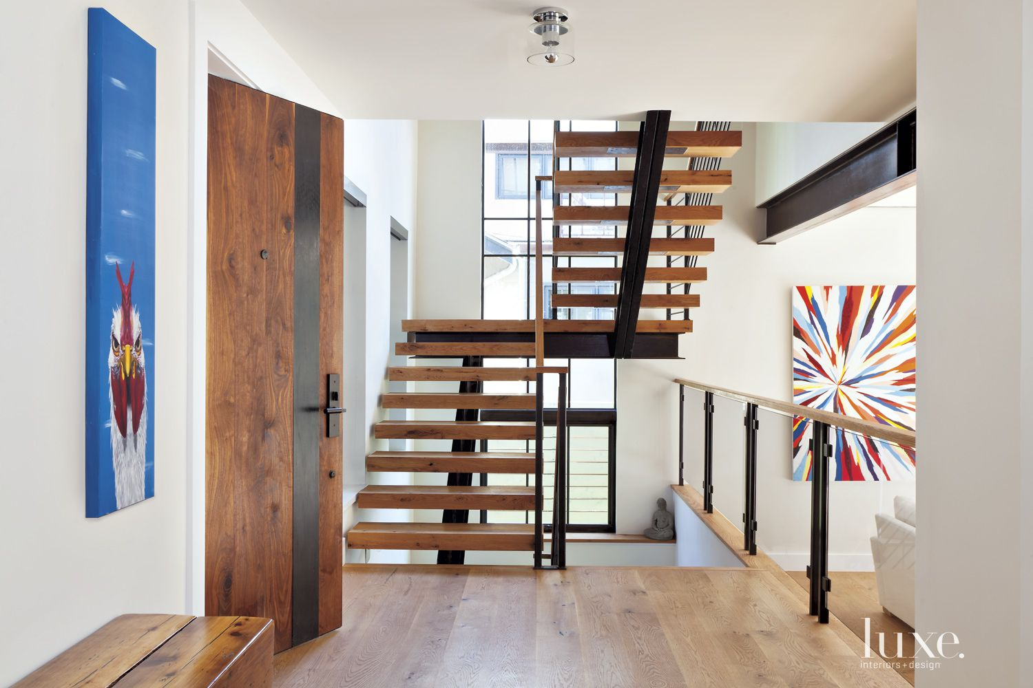 Contemporary Neutral Staircase with White-Oak Floors