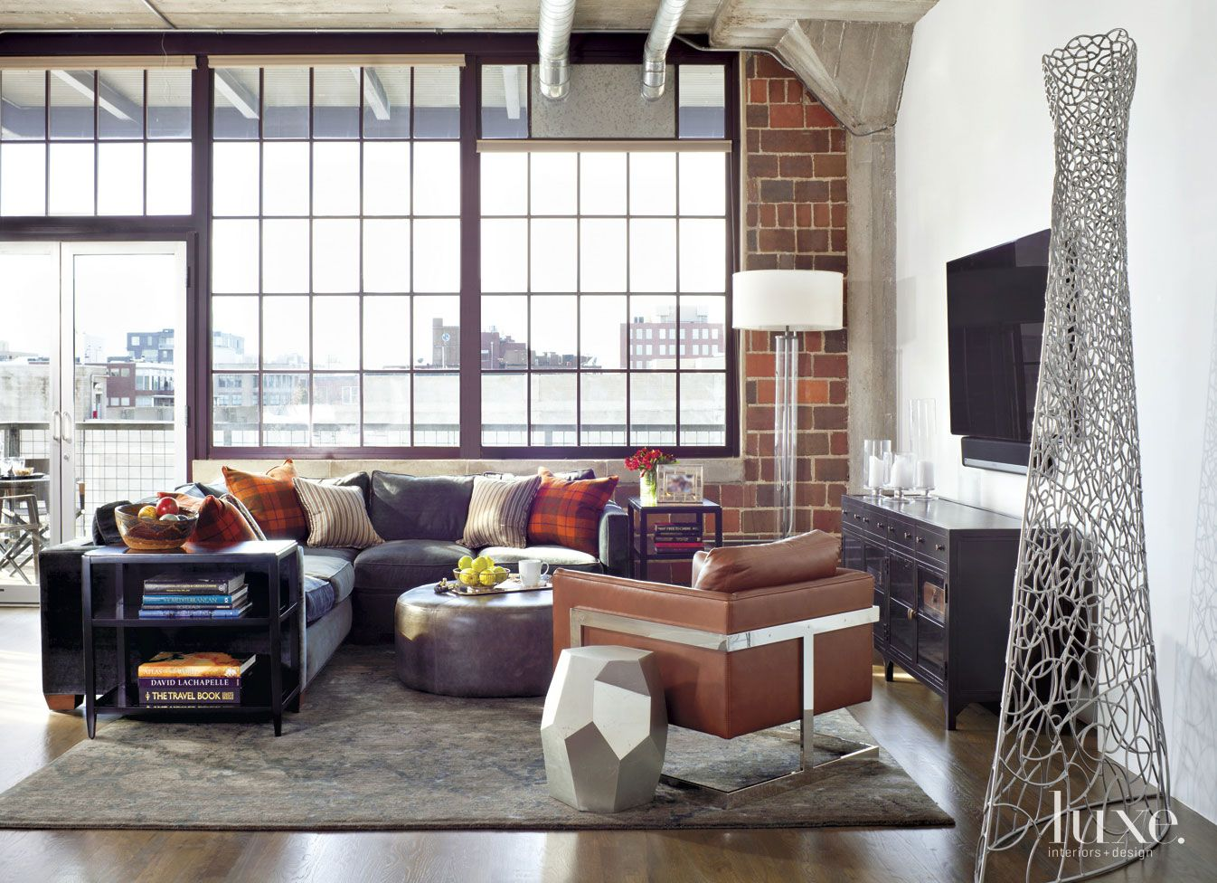 Contemporary Cream Living Room with Exposed Brick