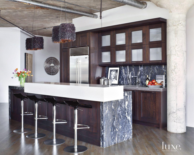 Contemporary Walnut Kitchen with Granite Countertops