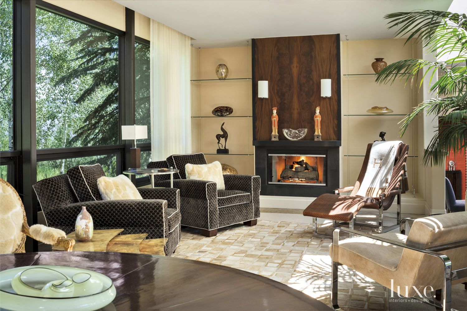 Transitional Cream Sitting Room with Cowhide Rug