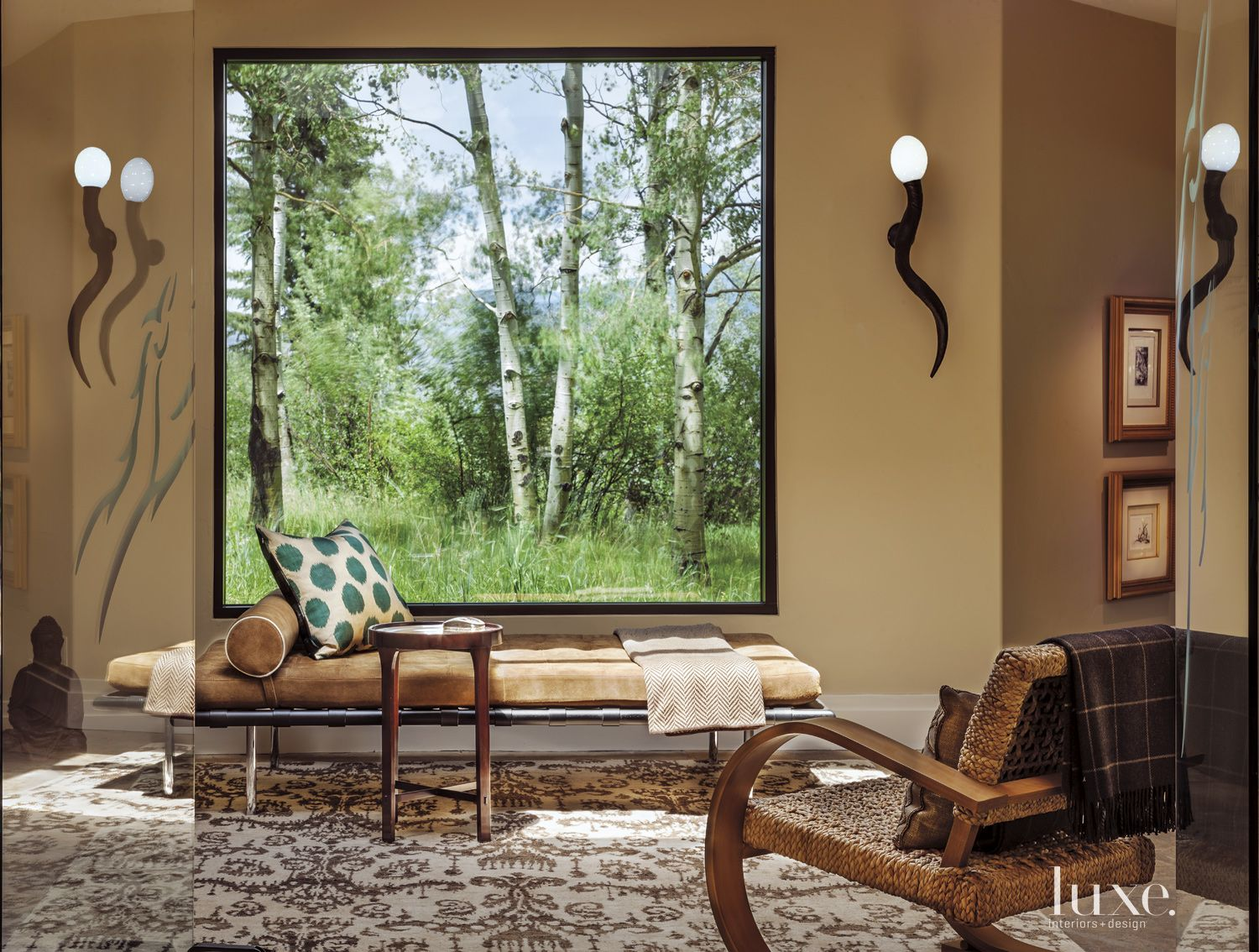 Eclectic Cream Sitting Area with Ikat Rug