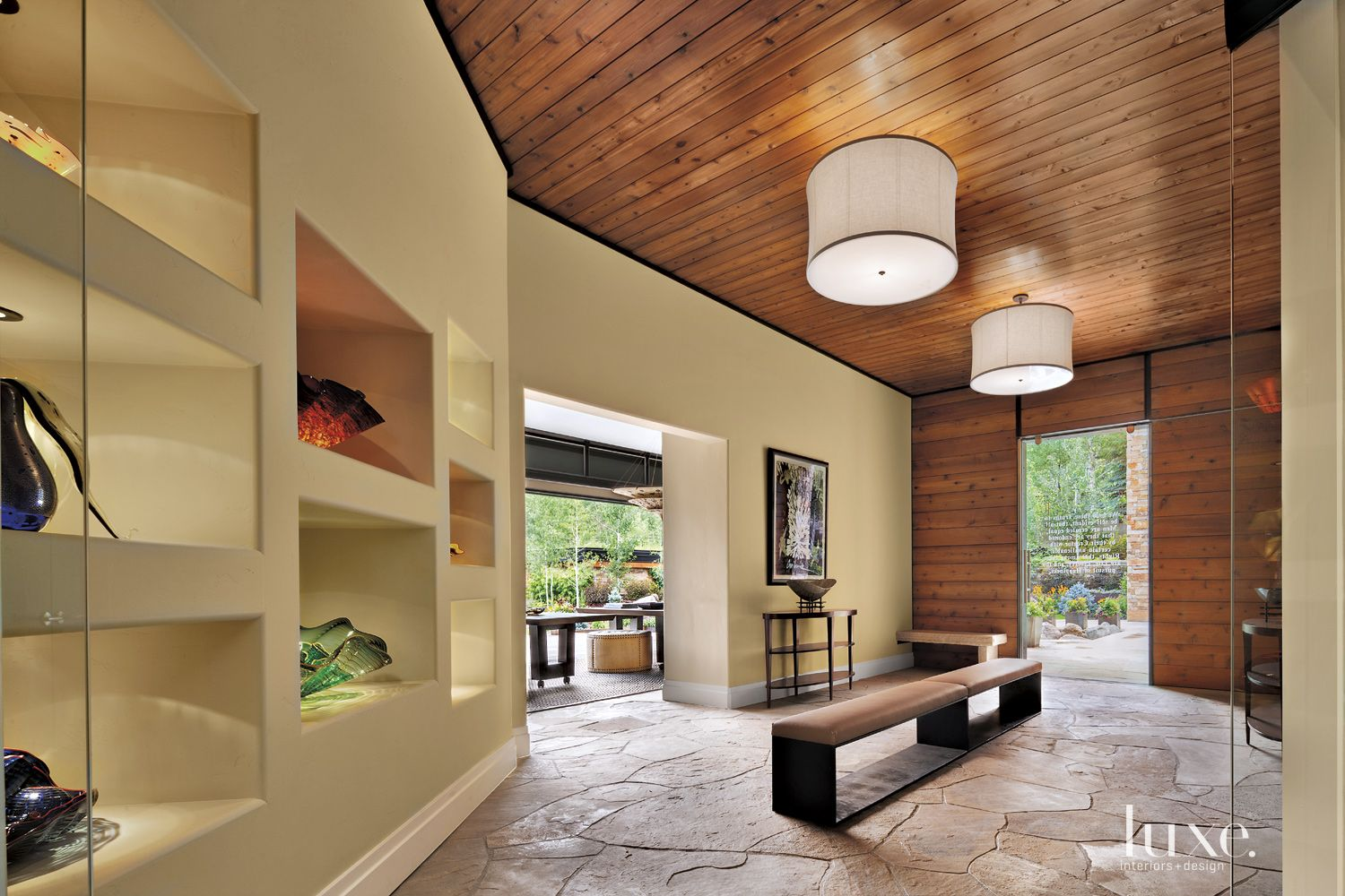 Transitional Cream Entry with Flagstone Floor