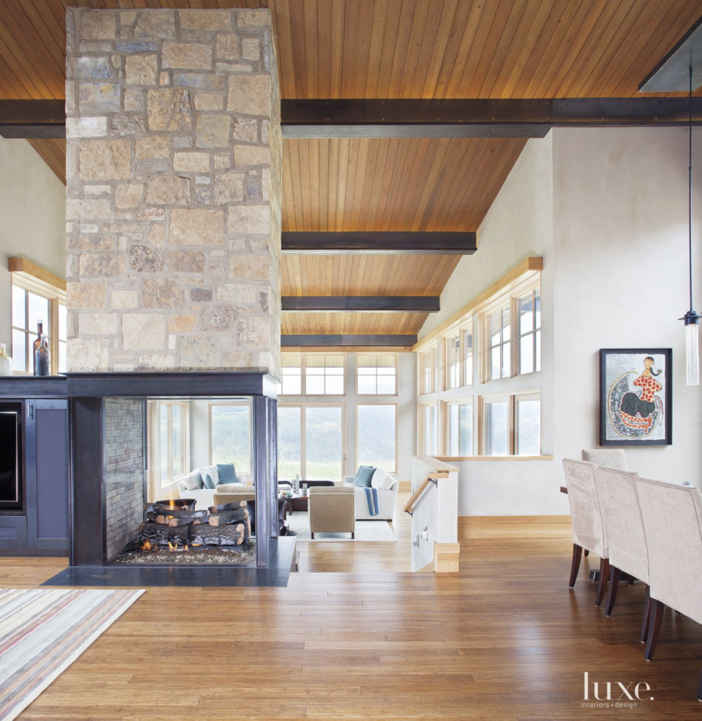Contemporary Neutral Living Room with Glass Fireplace