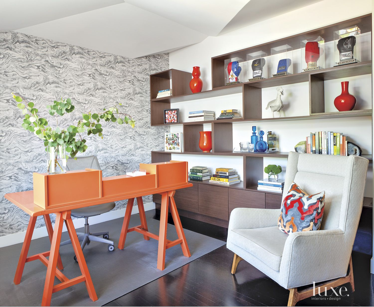Modern Neutral Office with Orange Desk