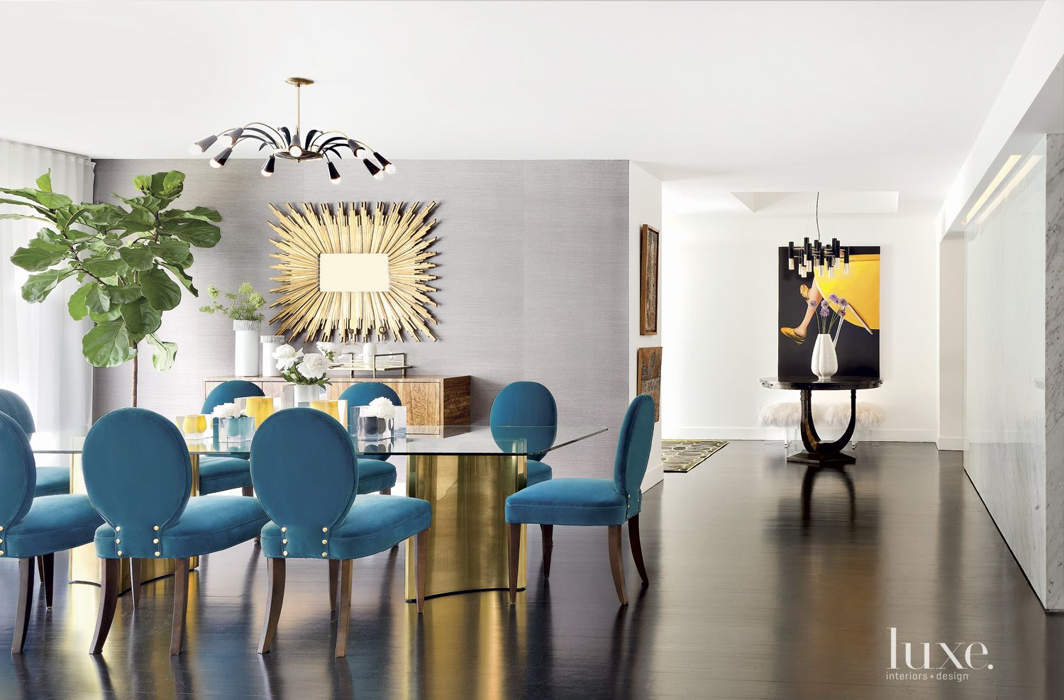 Modern Neutral Dining Room with Blue Chairs