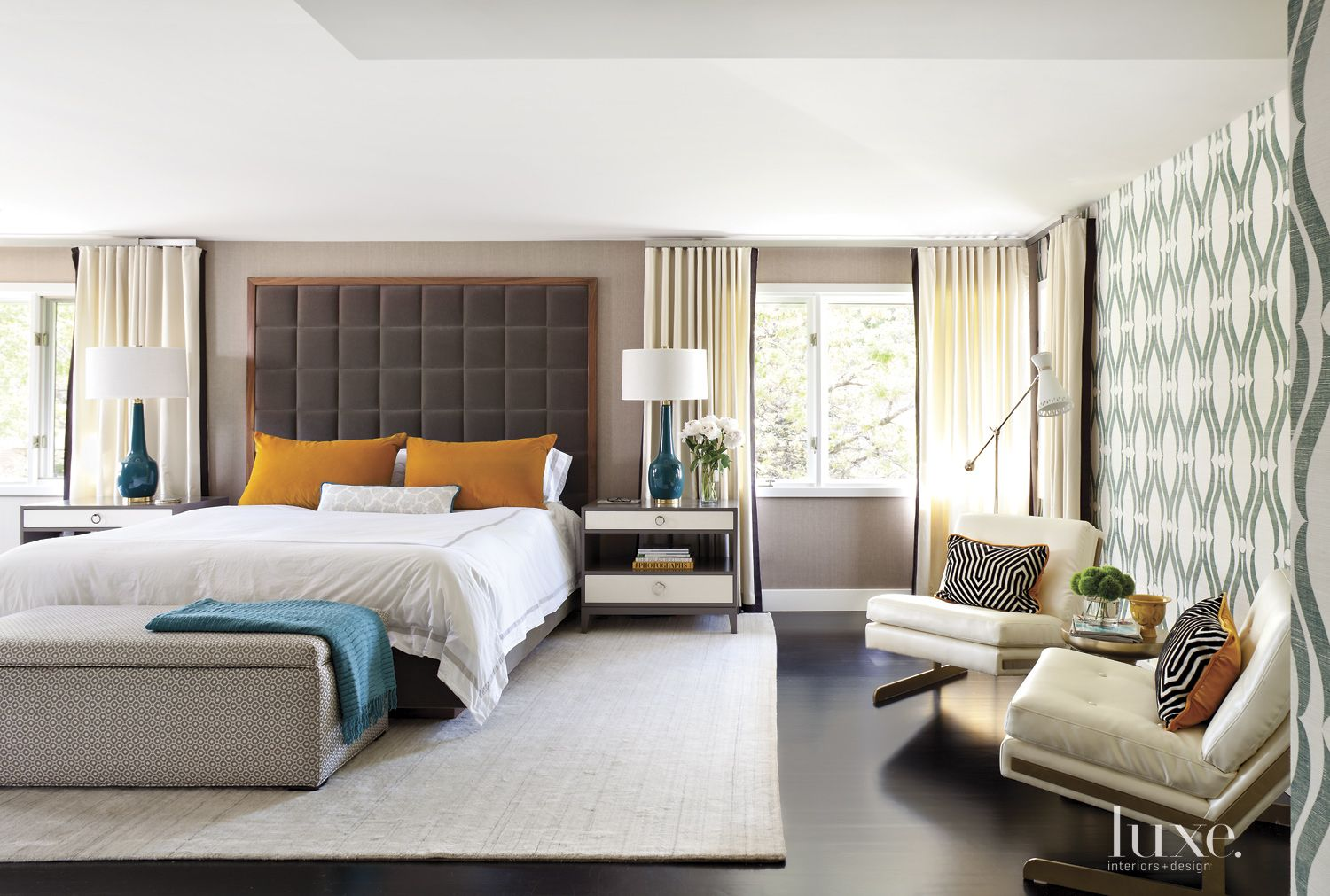 Modern Neutral Bedroom with Patterned Ottoman