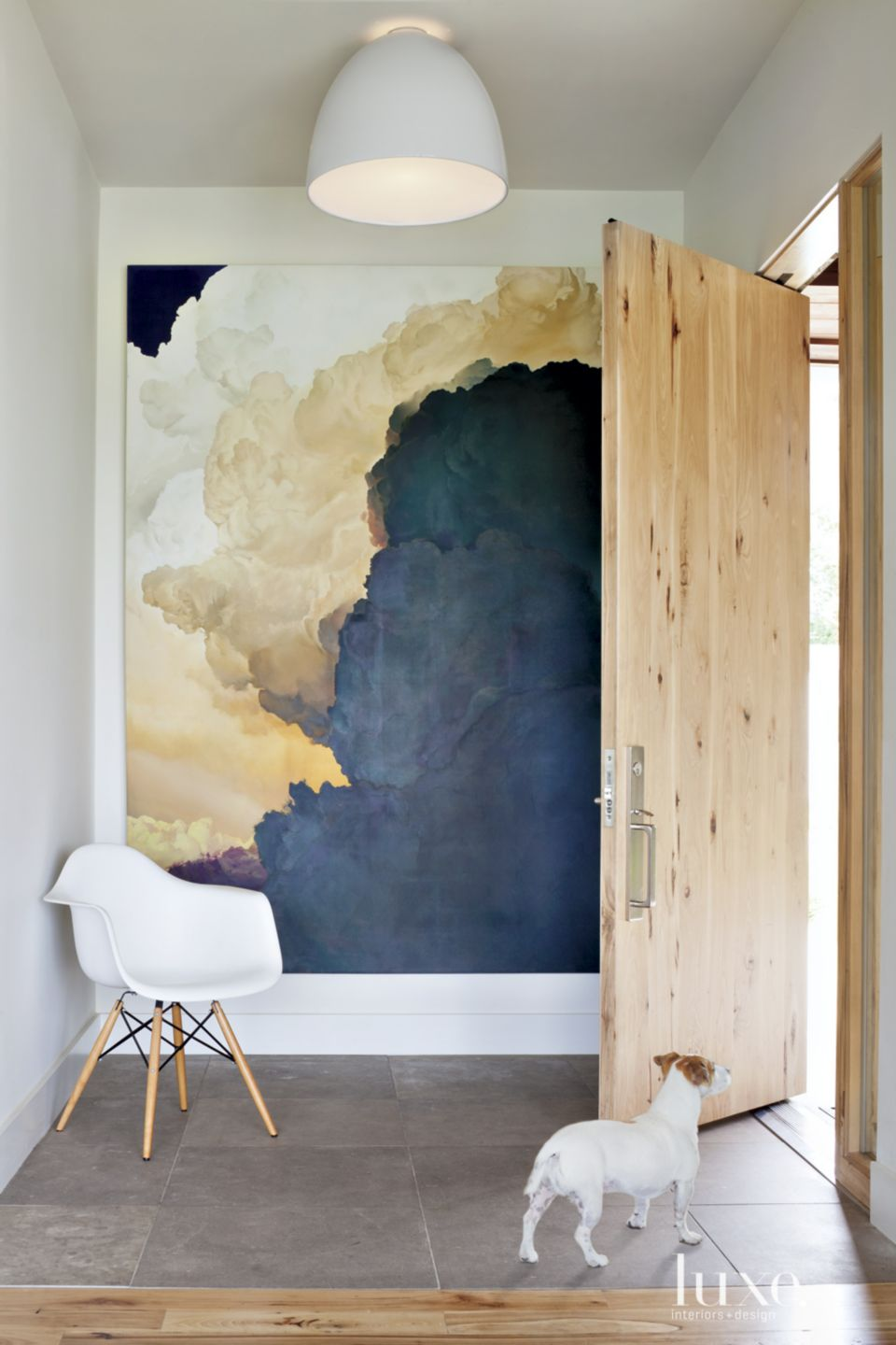 Contemporary White Entry with Oversized Art