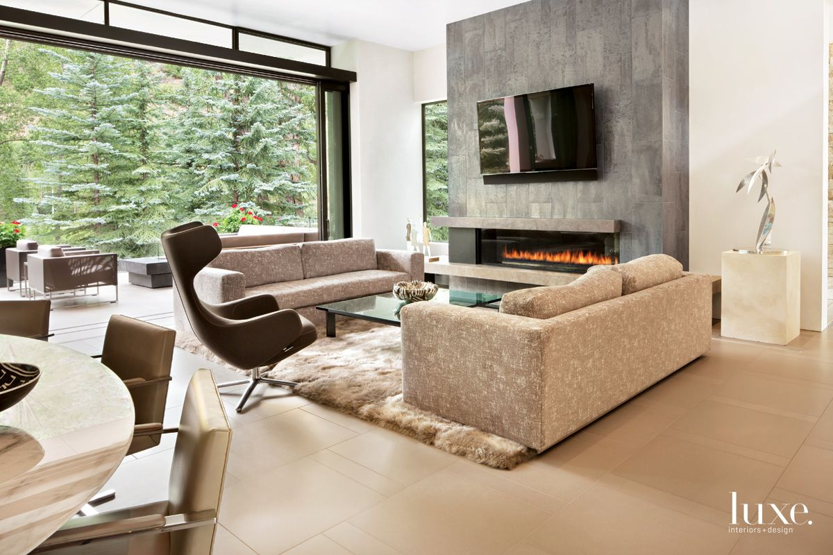 Contemporary Neutral Living Area with Stone Tile Fireplace