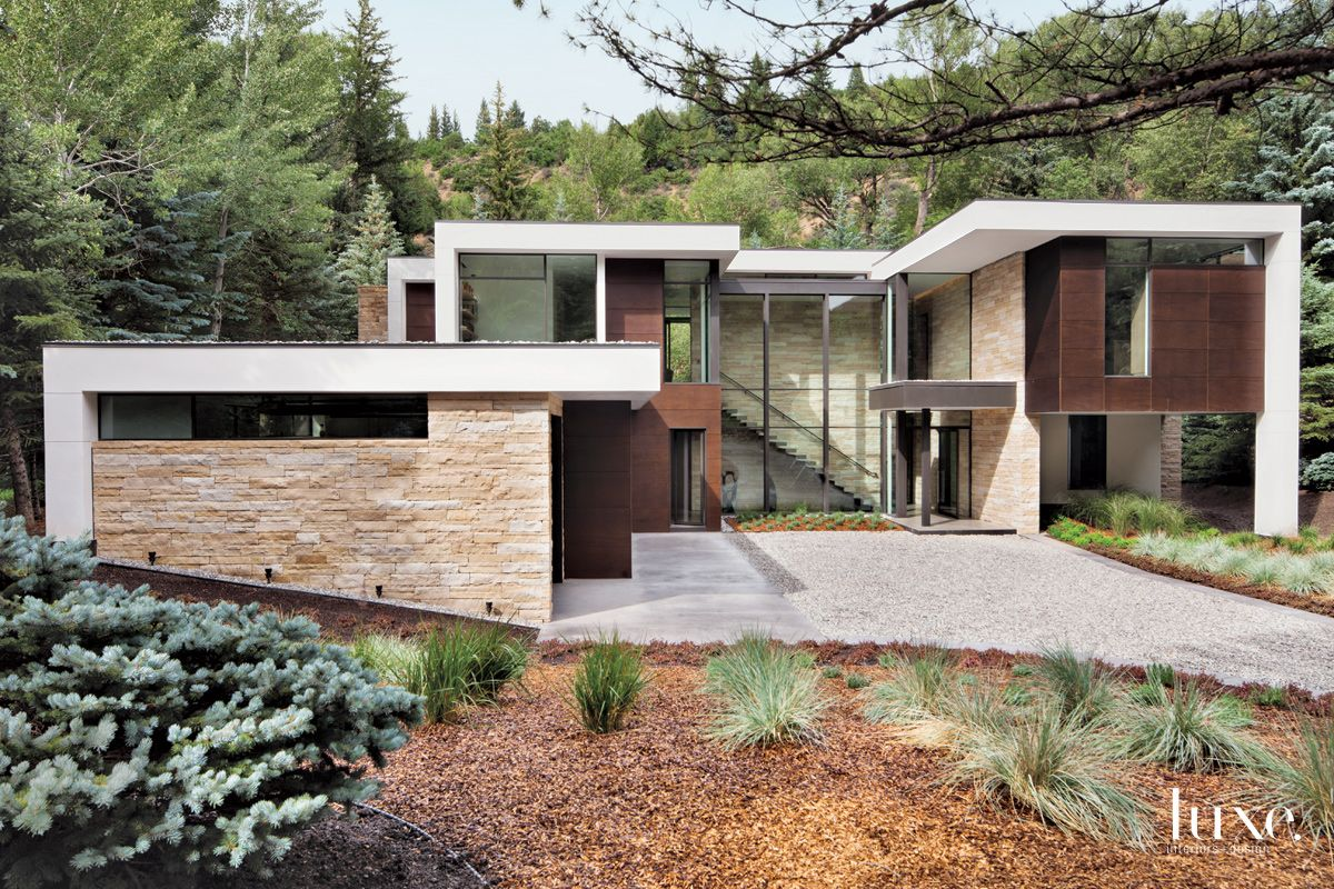 Modern Neutral Exterior with Linear, Stone Structure