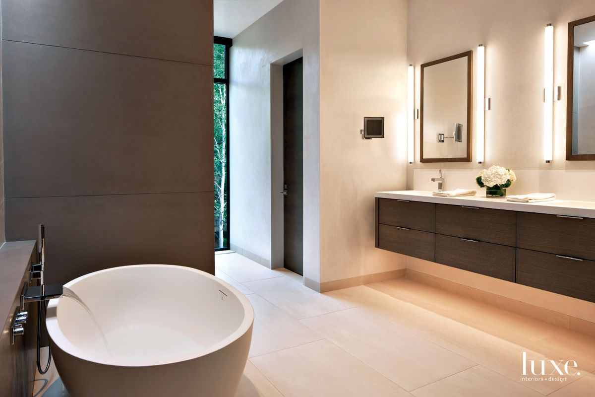 Contemporary White Bathroom with Brown Wall Panels