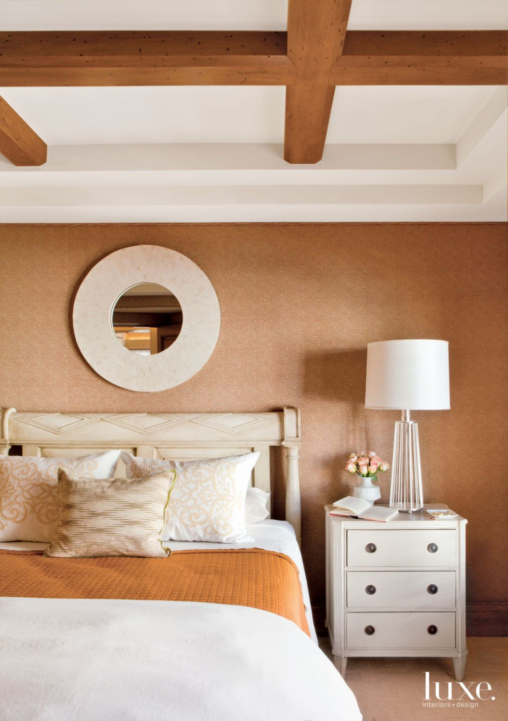 Contemporary Orange Bedroom with Jacquard Chenille Walls