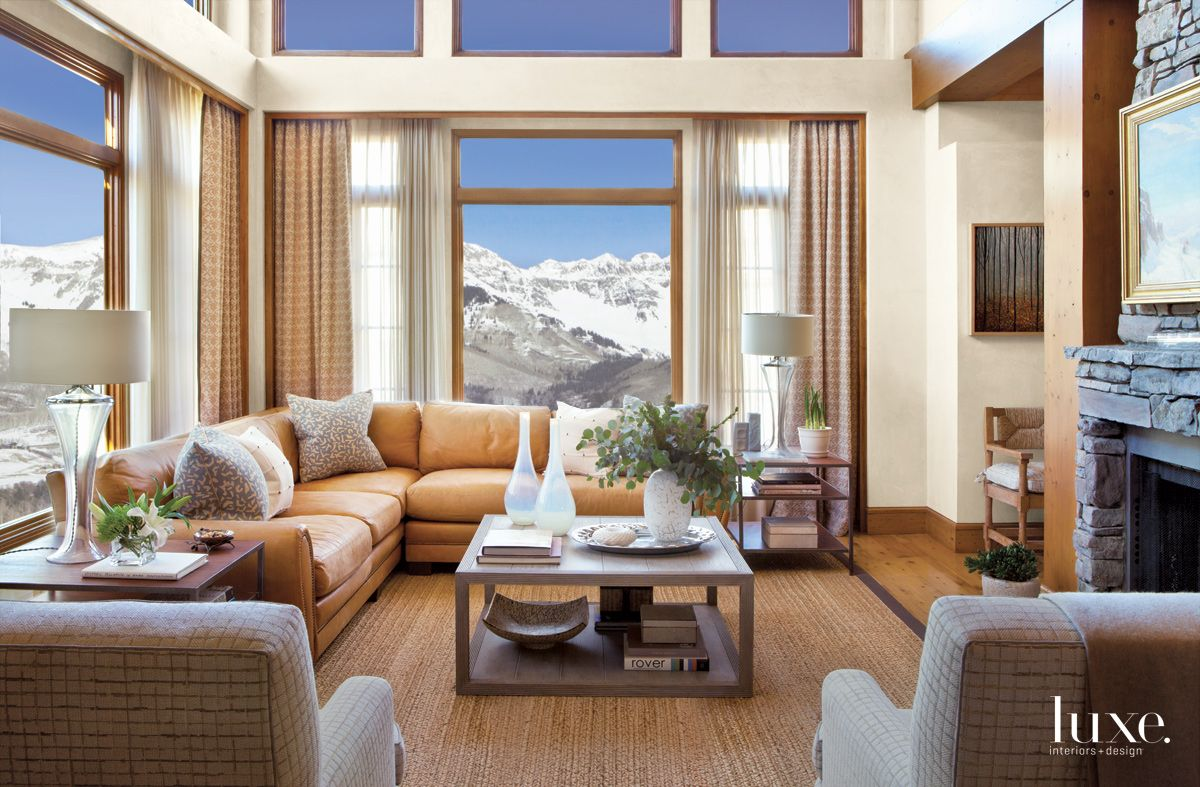 Contemporary Neutral Living Area with Mountain Views