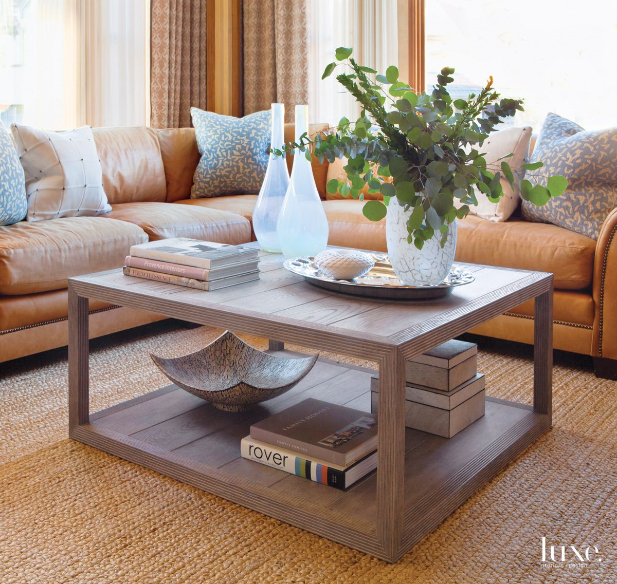 Contemporary Neutral Living Room with Abaca Rug