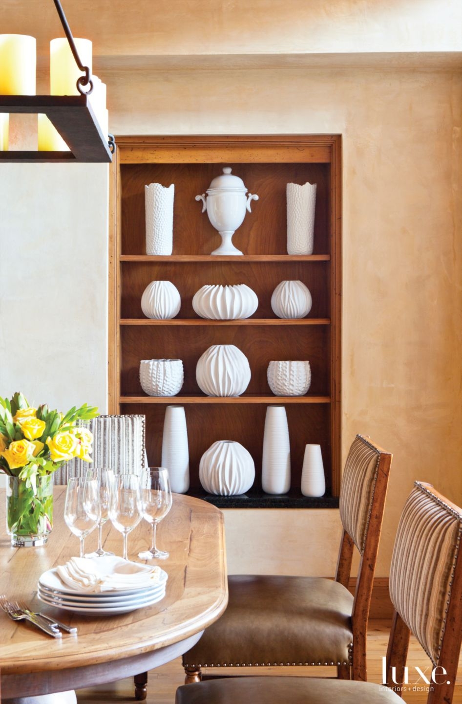 Contemporary Neutral Dining Room Niche with White Pottery