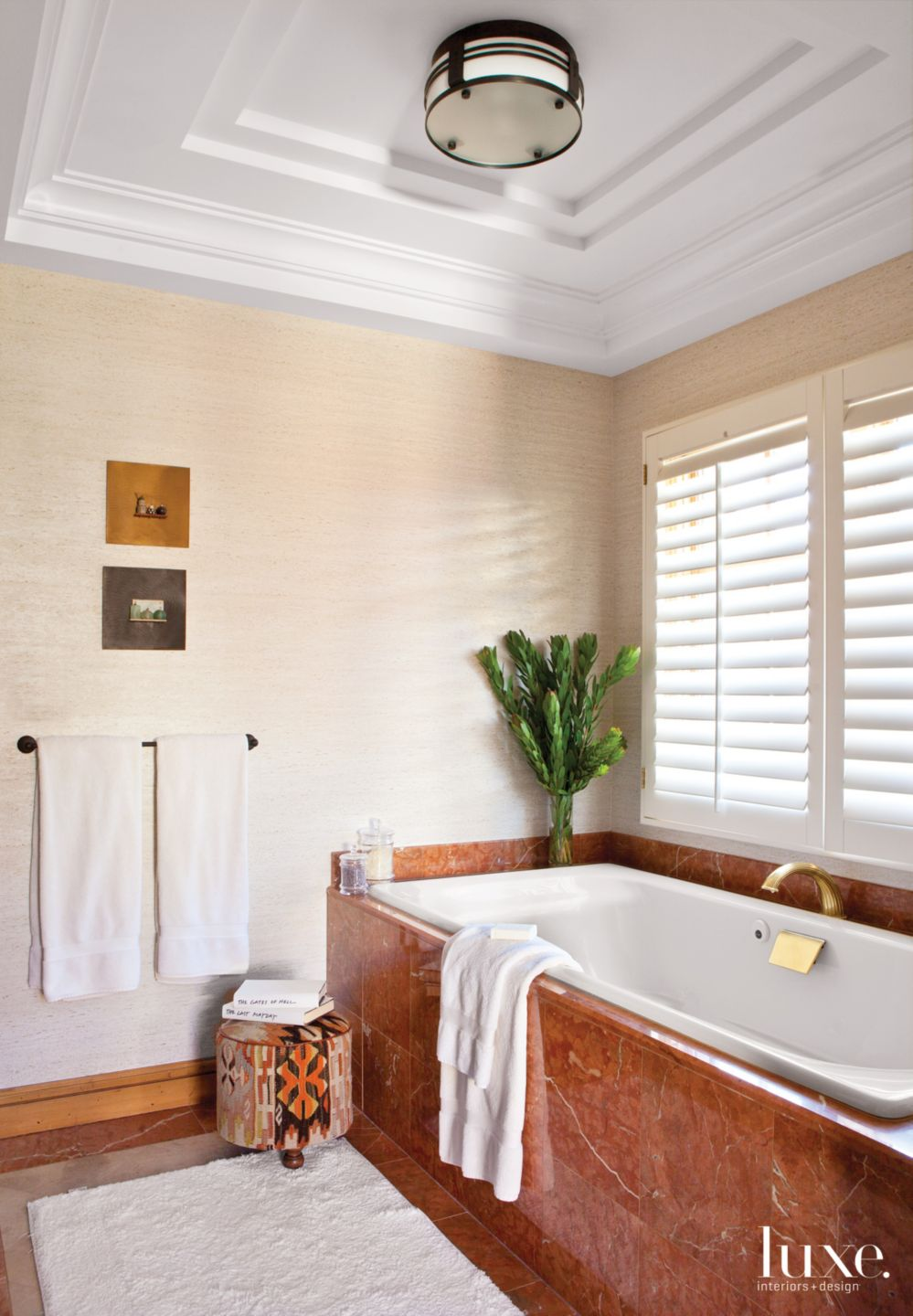 Contemporary Neutral Master Bathroom with Brown Marble Tub Surround