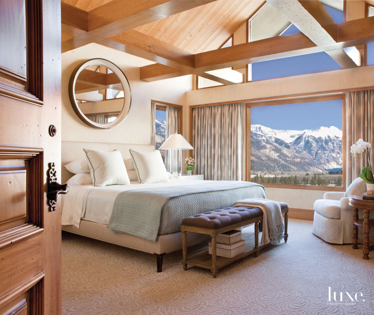 Contemporary Neutral Bedroom with Expansive Mountain Views