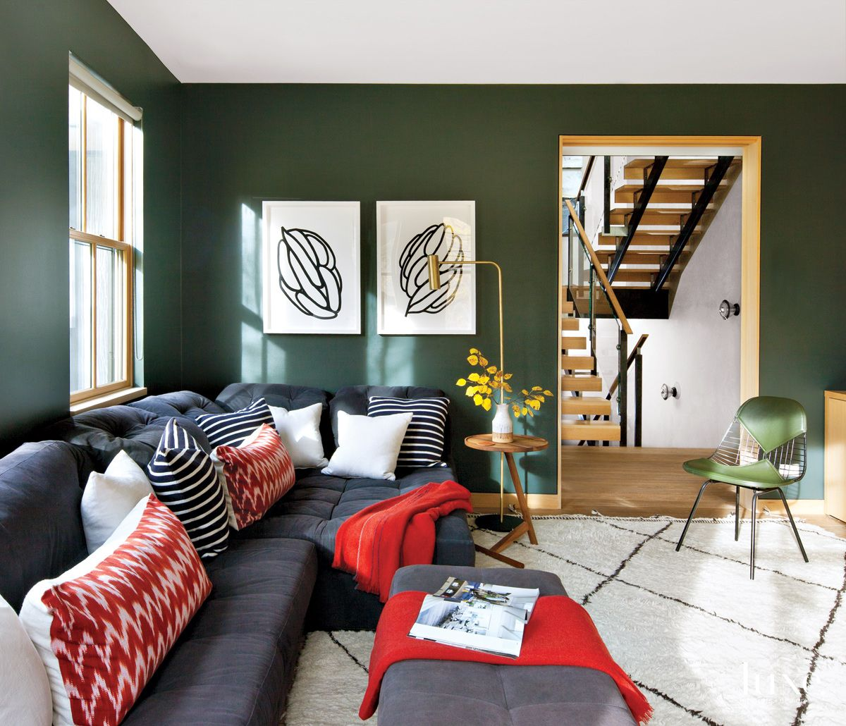 Modern Green Den with Tufted Sectional
