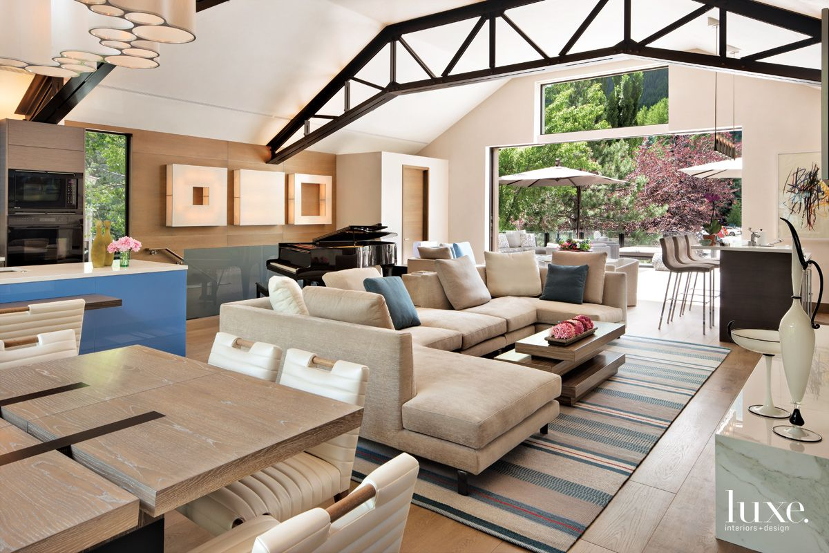 Contemporary Neutral Great Room with Steel Trusses