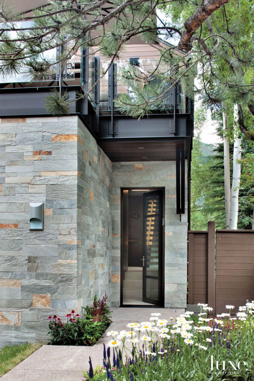Contemporary Gray Entry with Quartzite Exterior