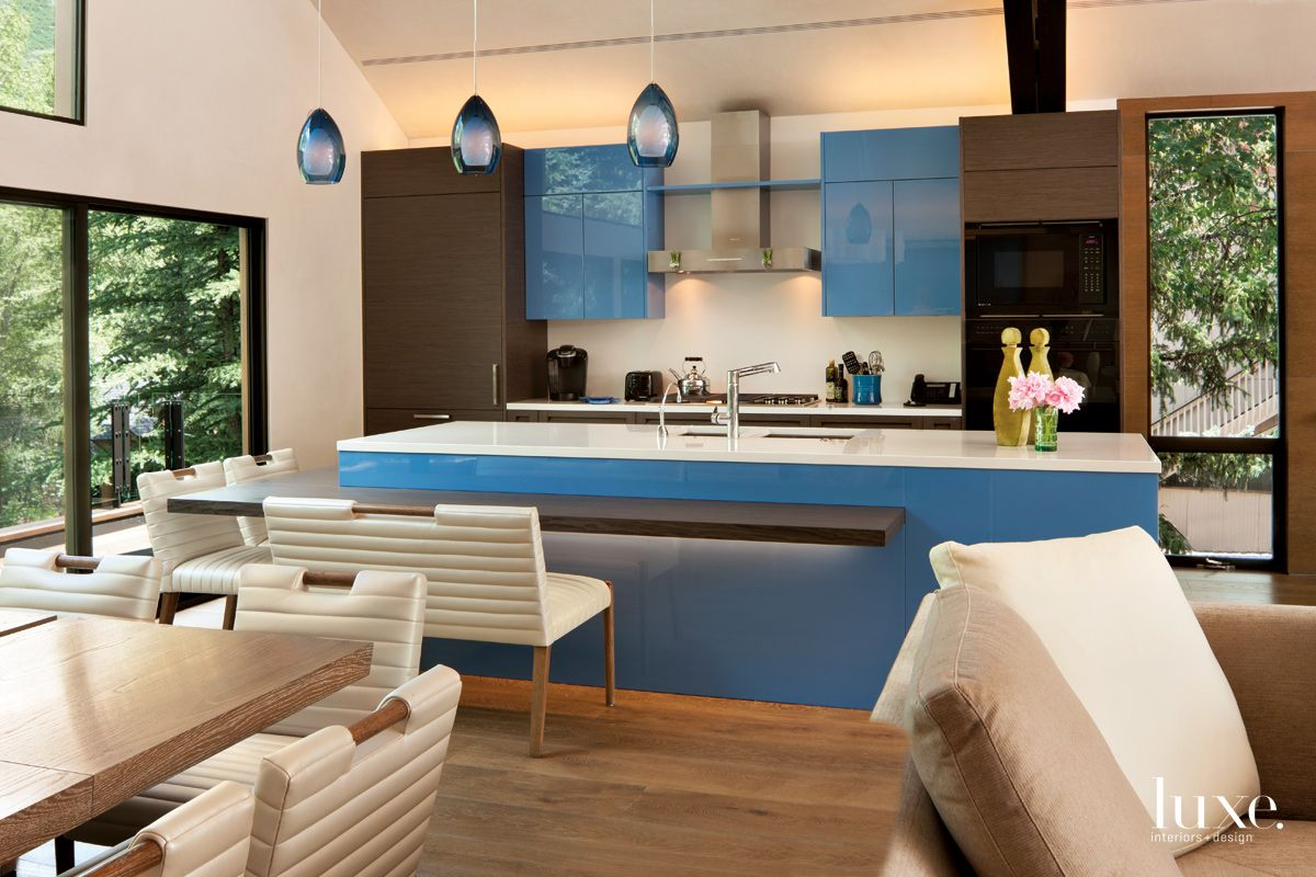 Contemporary Neutral Kitchen Area with Blue Lacquer Cabinetry