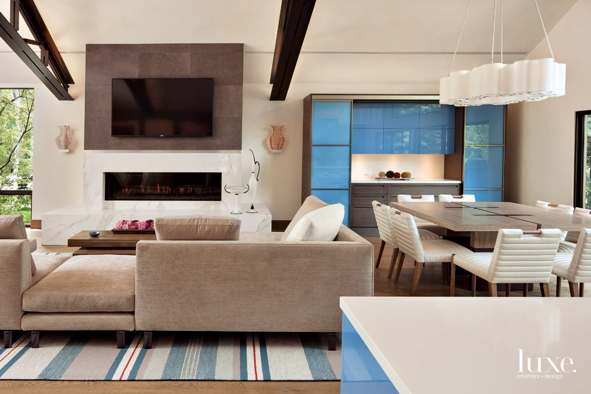 Contemporary Neutral Open-Plan Living Area with Blue Hutch