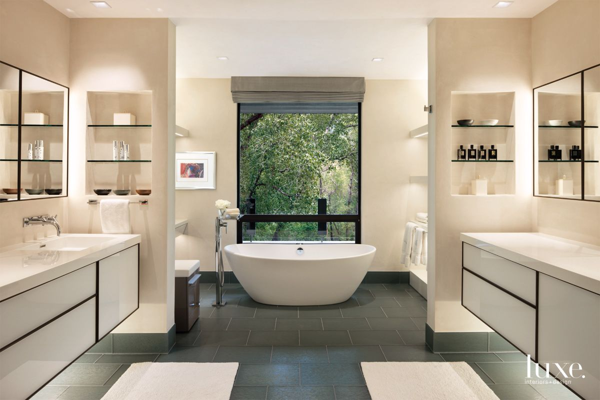 Contemporary Cream Bathroom with White-Glass-and-Walnut Vanities