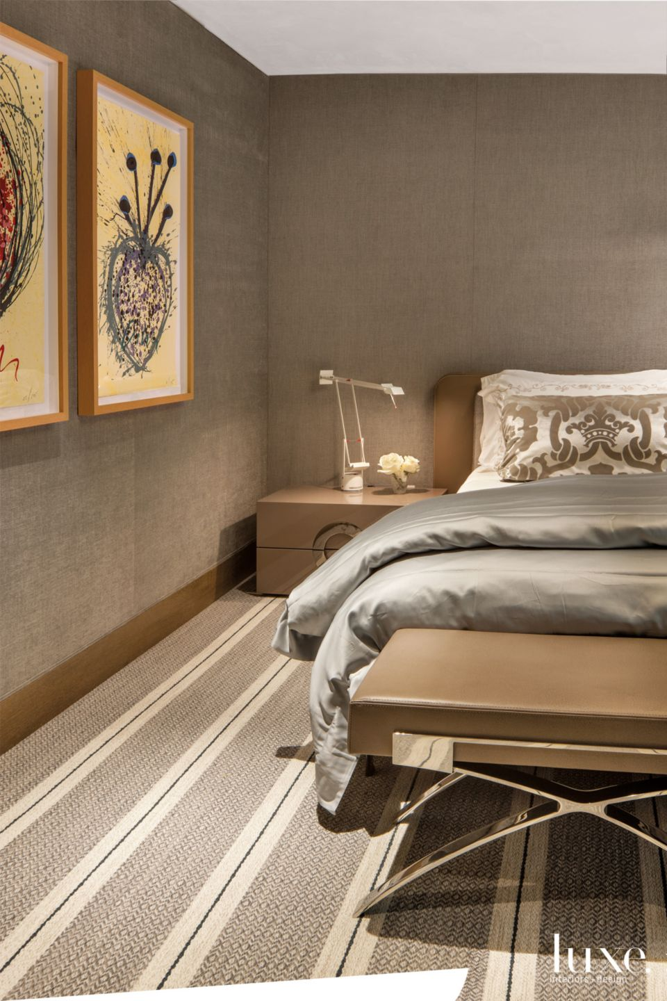 Contemporary Brown Master Bedroom with Custom, Striped Carpet