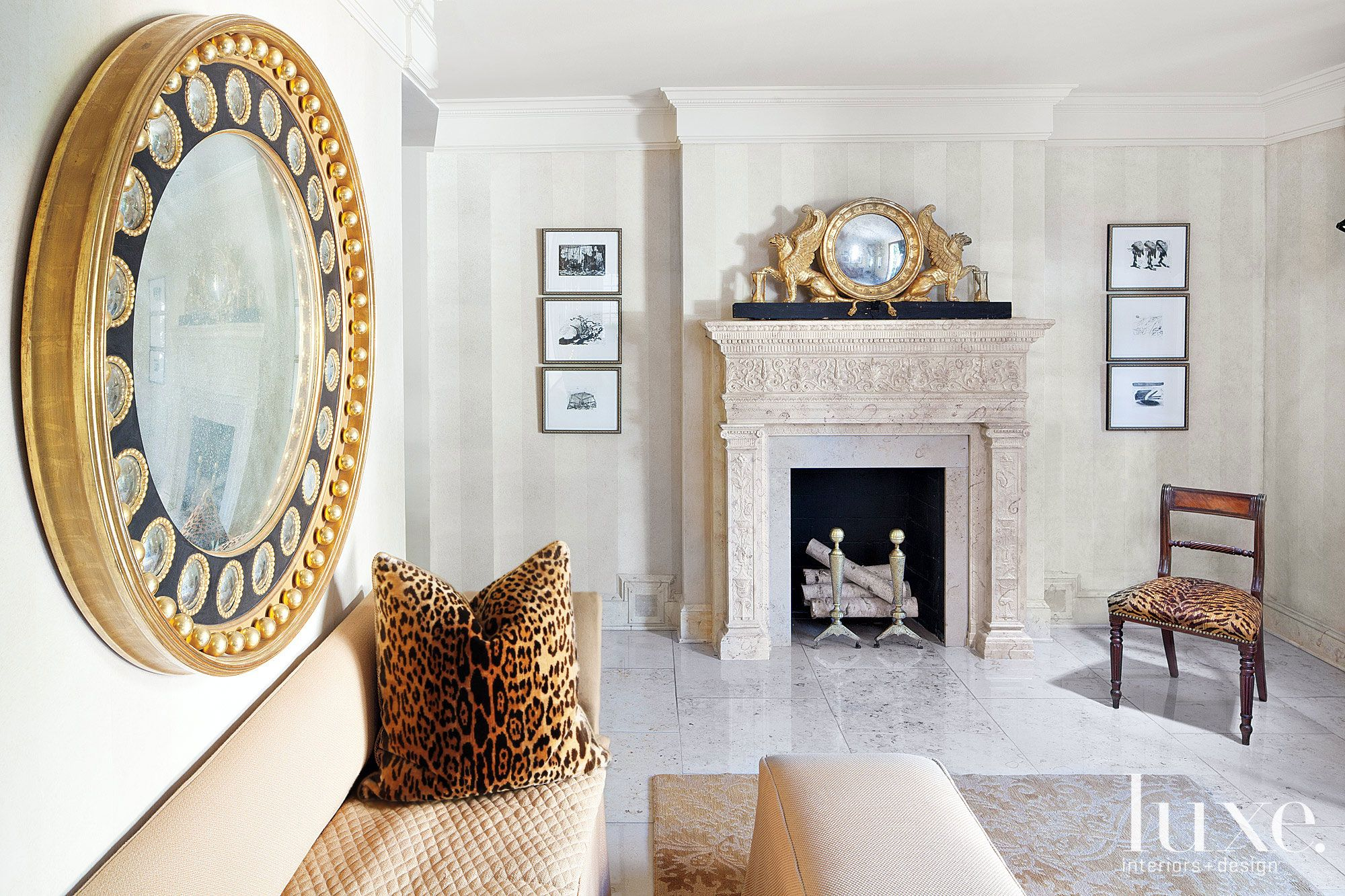 Traditional Neutral Foyer Fireplace