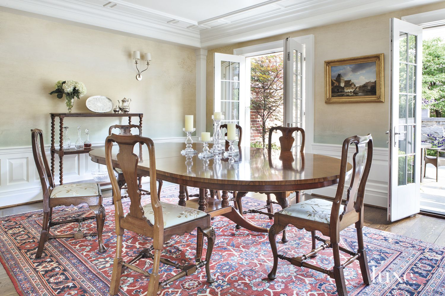 Traditional Cream Dining Room with French Doors
