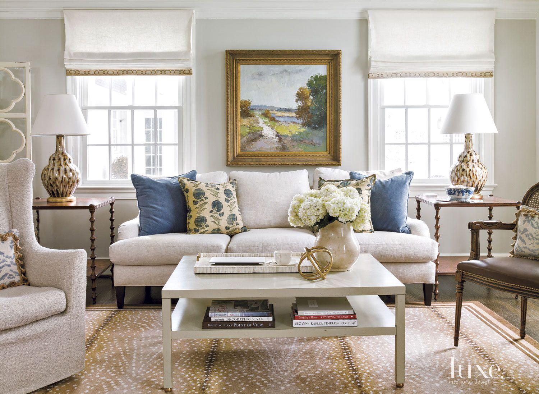 Contemporary Cream Family Room Sofa