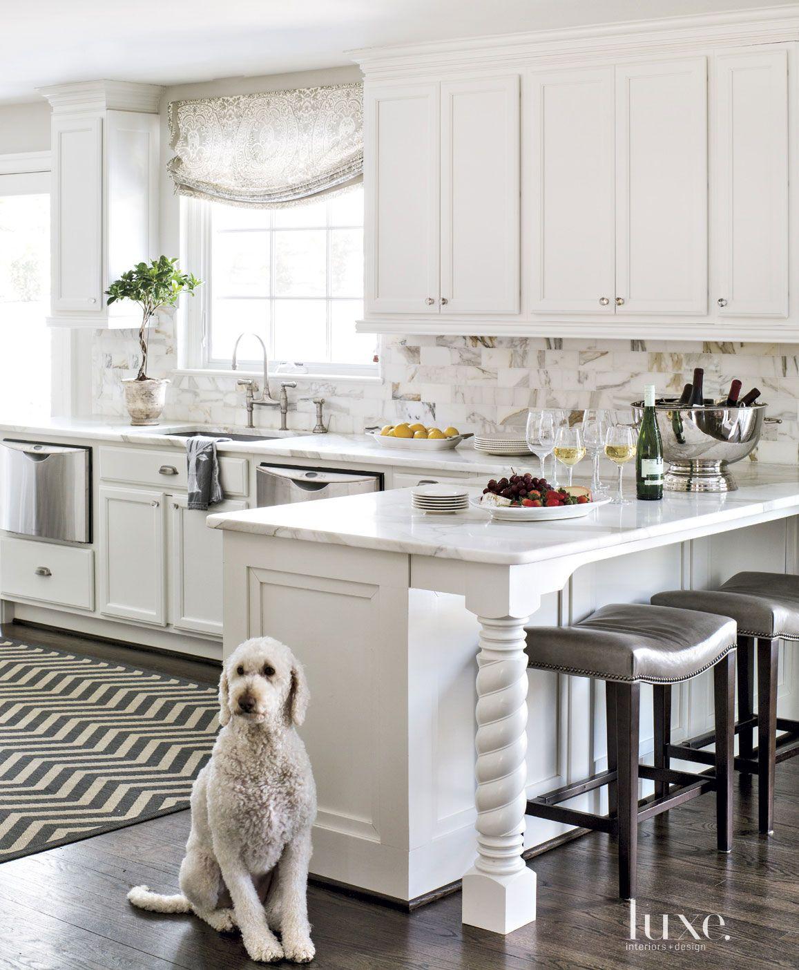 Contemporary White Kitchen Peninsula