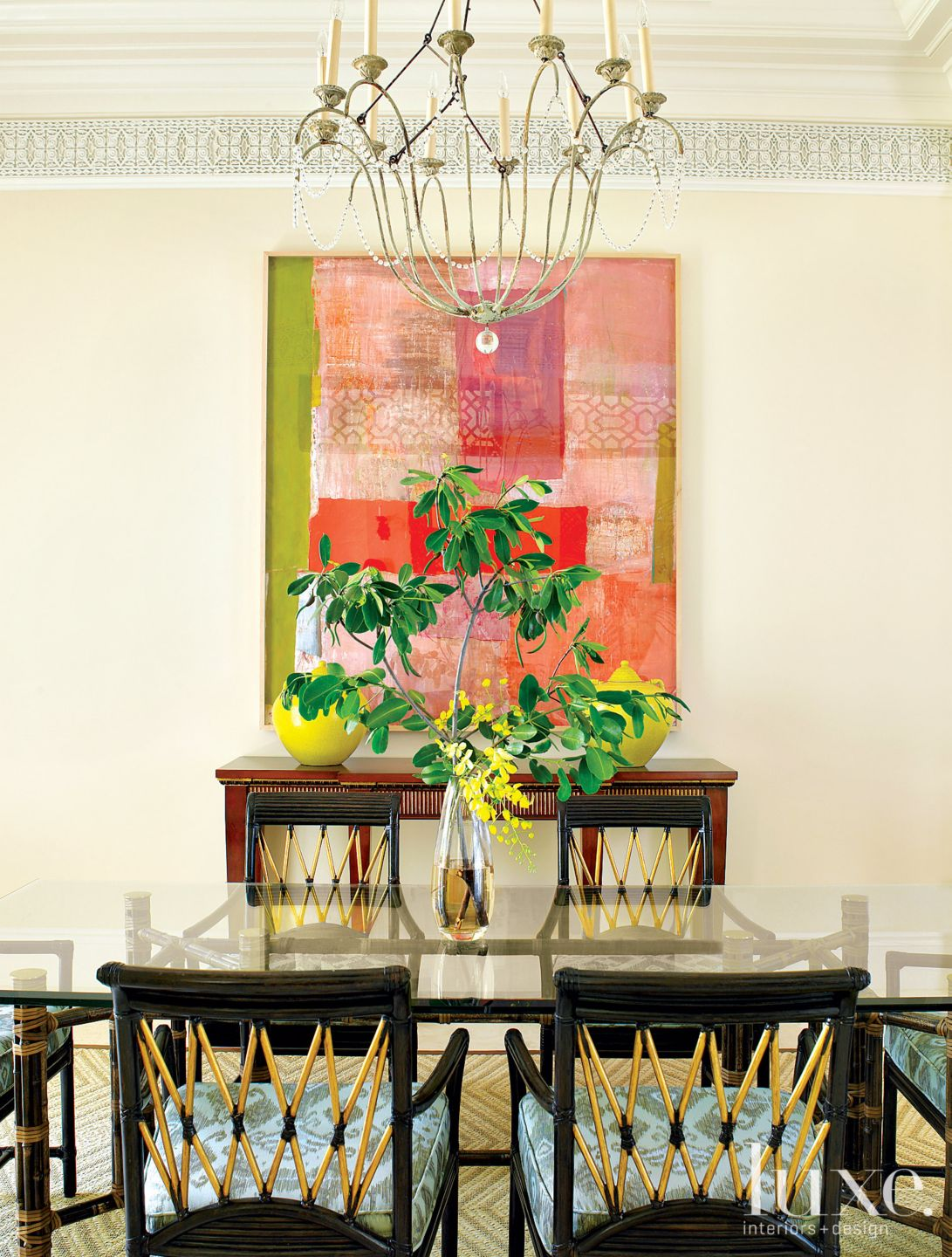 Mediterranean Neutral Dining Room with Ikat Chairs